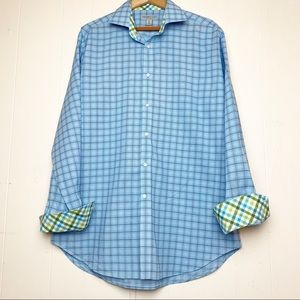 Jack Stone Blue Plaid with Gingham flip cuff shirt